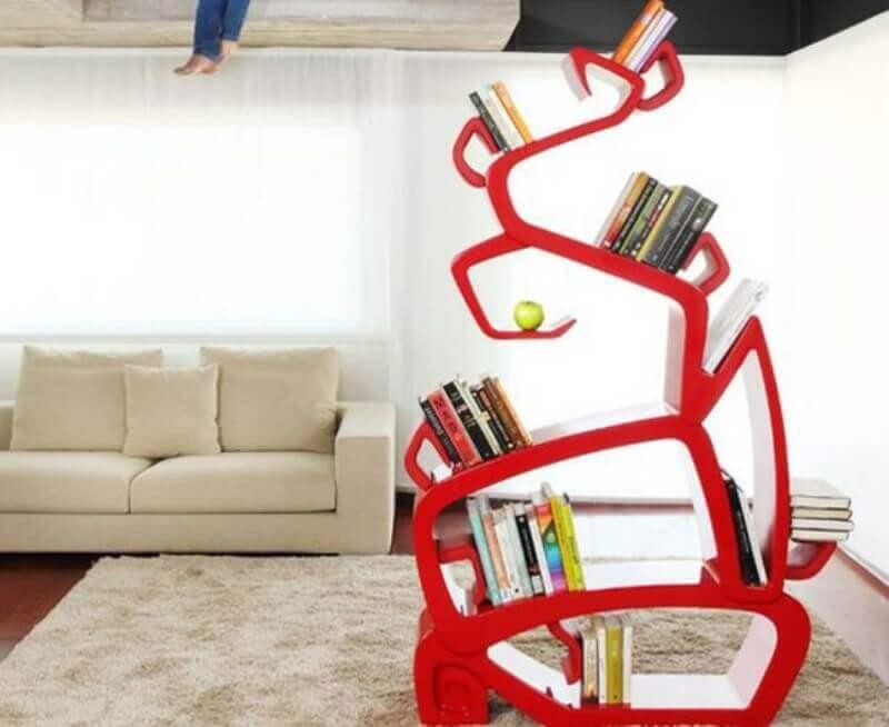 estante vermelha diferente para decoração moderna