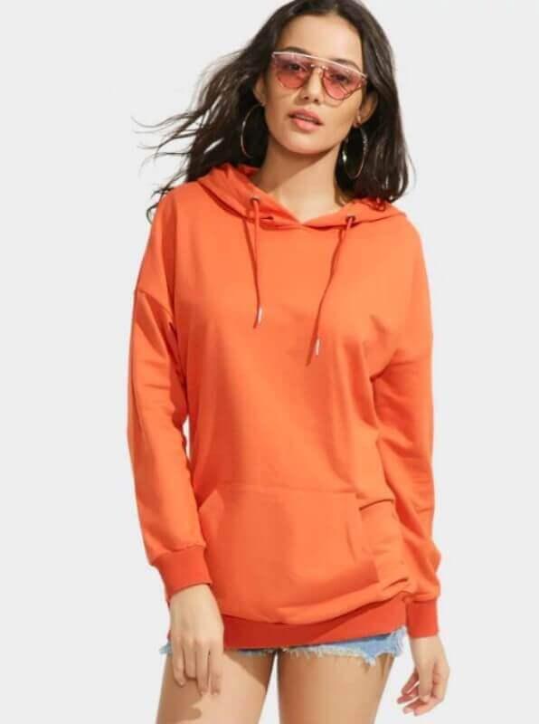 look com moletom laranja e shorts