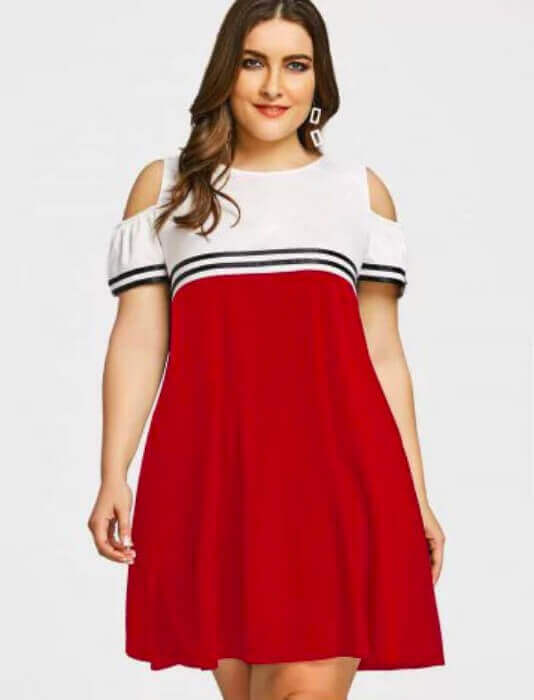 vestido vermelho e branco decote no ombro