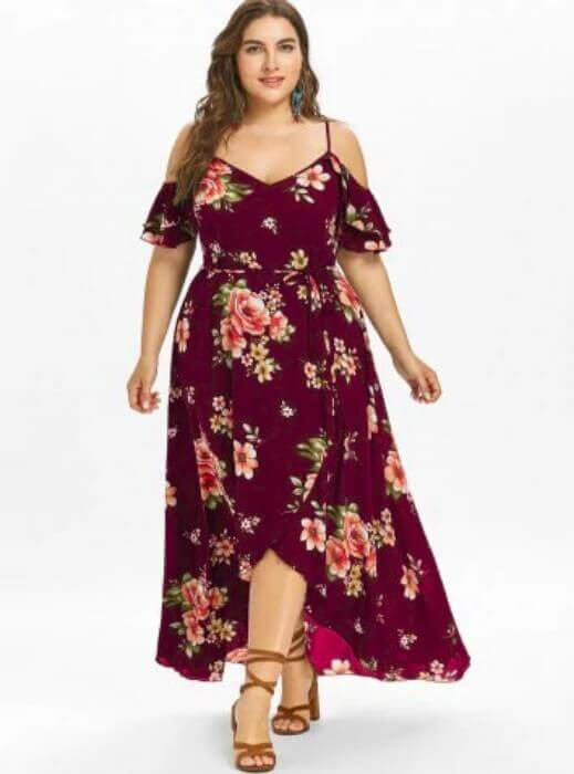 vestido vermelho florido plus size