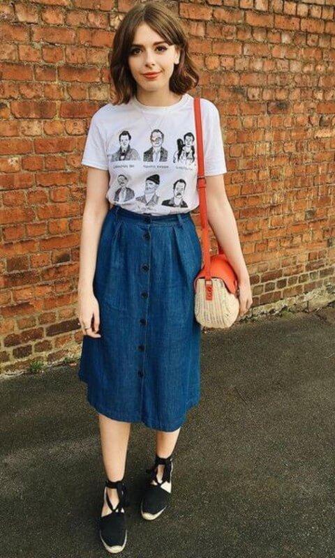 look-com-saia-midi-de-botao-jeans Foto Moda It