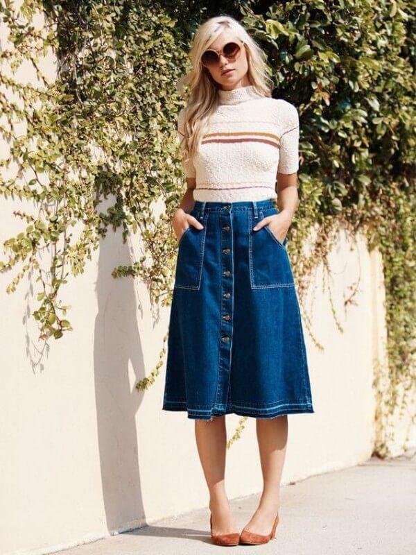 saia-jeans-midi-com-botão-na-frente Foto Pinterest