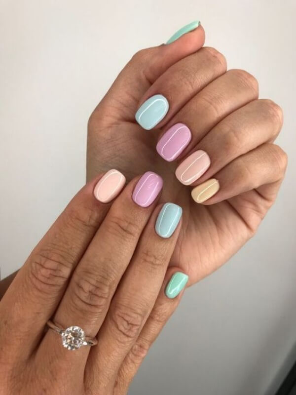 unhas coloridas candy colors Foto Glanz Fashion