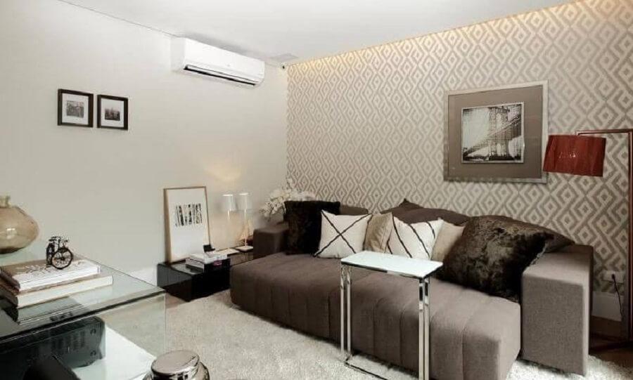Papel de parede para decoração de sala de estar cinza Foto Rodrigo Fonseca
