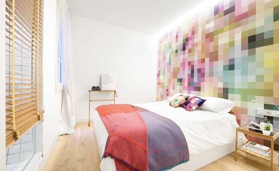 decoração moderna para quarto com papel de parede colorido Foto Viva Decora